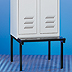 Clothes locker with seating bench